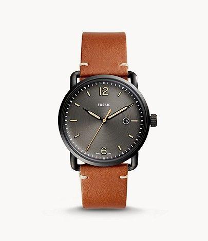 Montre à trois aiguilles avec date en cuir brun Fossil The Commuter FS5276 - 42 mm