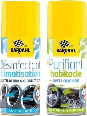 Lot de 2 Aérosols Bardahl : Désinfectant climatisation (125 ml) + Purifiant habitacle (125 ml)