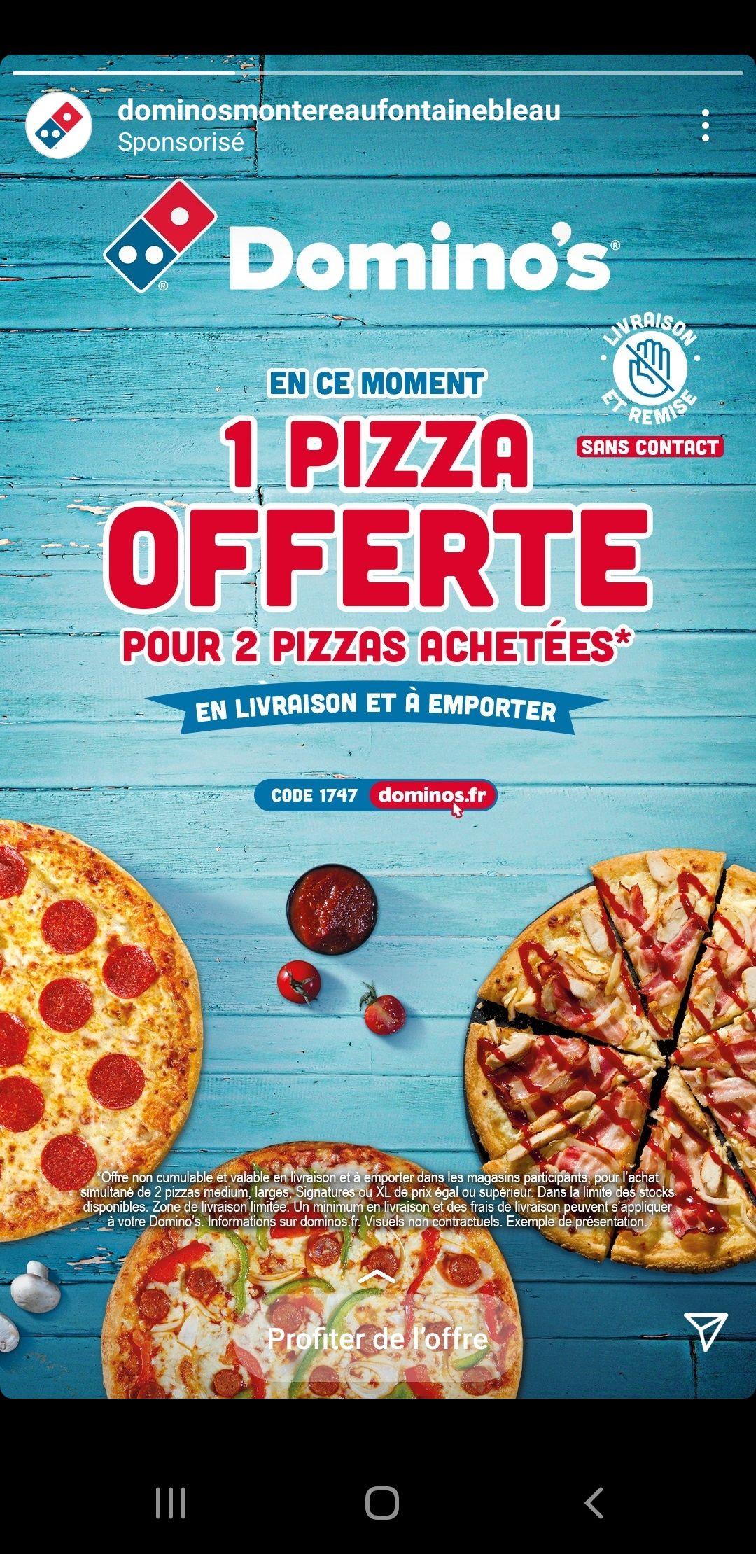 2 Pizzas achetées = 1 Pizza offerte - Montereau et Fontainebleau (77)