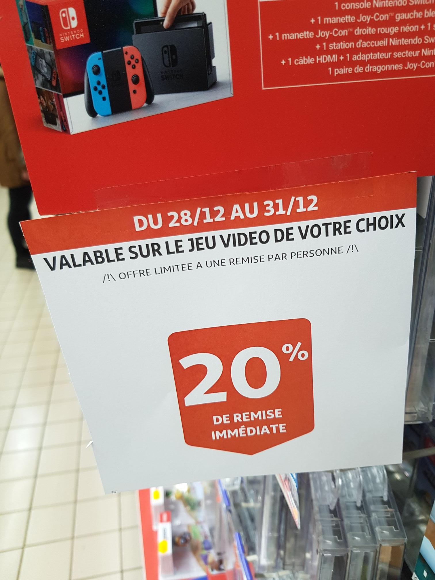 20% de réduction sur le Jeu vidéo de votre choix - Ex : Super Mario party - Auchan Epagny (74)
