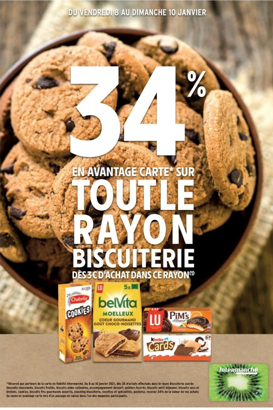34% offerts sur la carte de fidélité sur tout le rayon biscuiterie dès 3€ d'achats