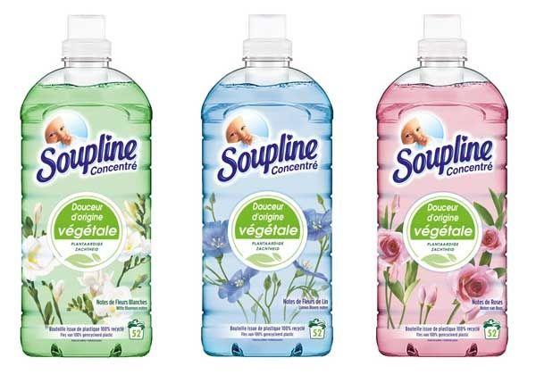 Lot de 2 bouteilles d'assouplissant Soupline Douceur D'origine Végétale 1.5L - Plusieurs parfums (via Shopmium)
