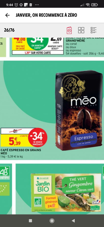 Sachet de café en grains Méo Espresso - 1 kg