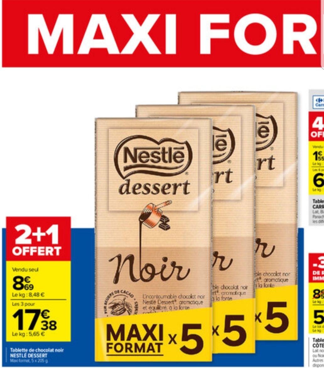 Lot de 3 packs de 5 tablettes de chocolat noir Nestlé Dessert - 15 tablettes, 15x205 g