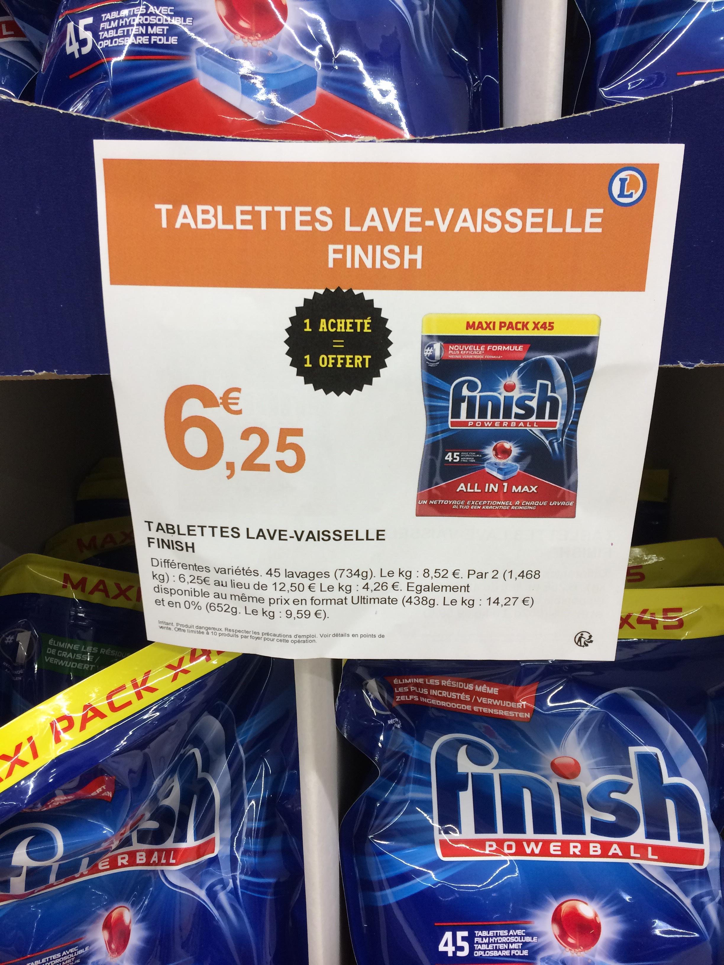 Lot de 2 paquets de tablettes pour lave-vaisselle Finish PowerBall All-in-1 Max (2x45 Lavages) - Tours (37)