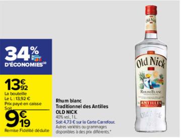 Rhum blanc traditionnel Old Nick 40% - 1L (Via 4.13€ sur Carte Fidélité)
