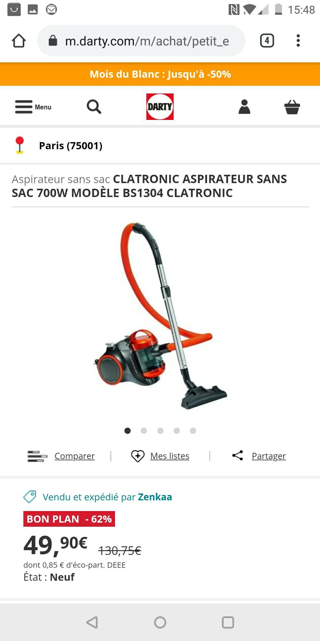 Aspirateur traineau sans sac Clatronic BS 1304 (vendeur tiers)