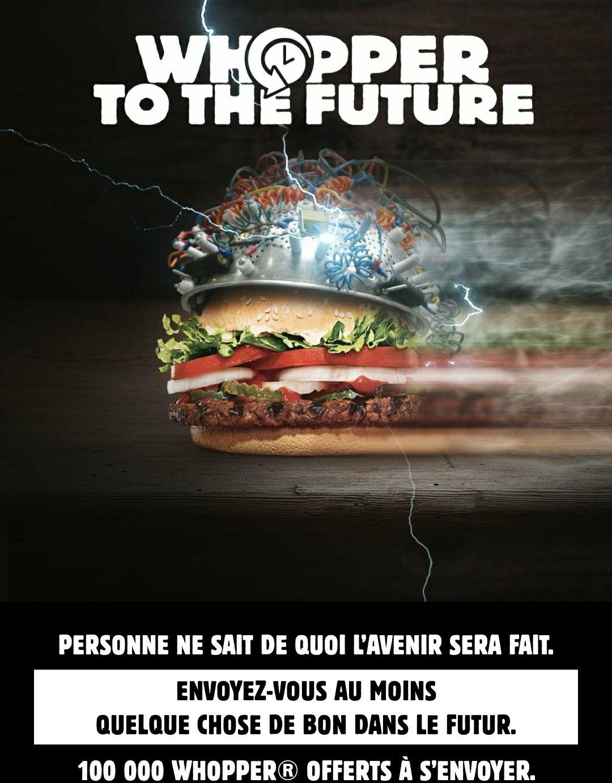 Un hamburger Whopper offert via l'application (date au choix)