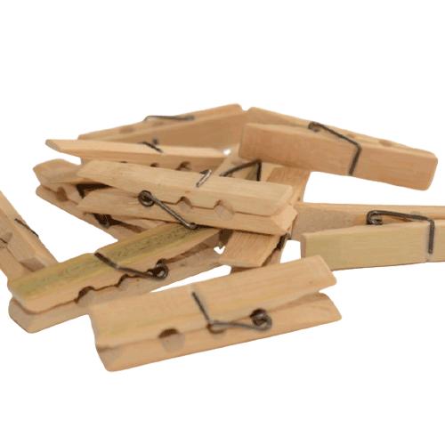 Lot de 50 pinces à linge - en bambou