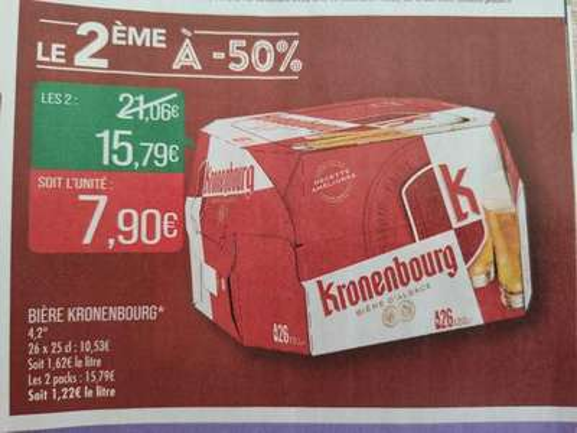 Lot de 2 packs de 26 bières Kronenbourg - 52 x 25 cl
