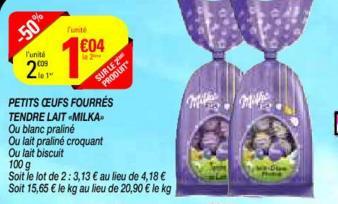 2 Paquets d'oeufs fourrés tendre au lait de Milka (plusieurs variétés) - 2x100g (50 % de remise immédiate + BDR)