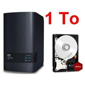 """Pack serveur de stockage Western Digital My Cloud EX2 + disque dur interne 3.5"""" WD Red (1 To)"""