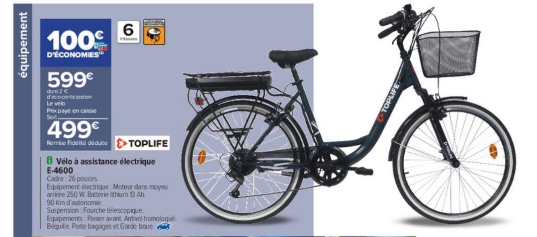 Vélo électrique Top Life 26' (via 100€ sur la carte de fidélité)