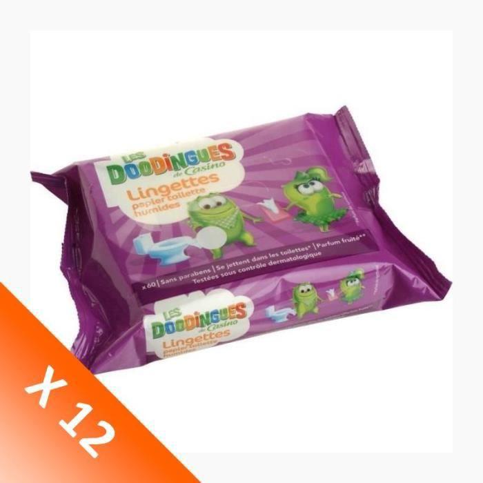 Lot de 12 paquets de 60 lingettes humides Les Doodingues - 12 x 60 Lingettes