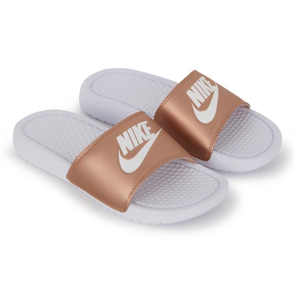 Claquette femme Nike Benassi JDI blanc rose gold