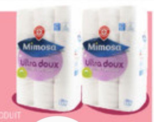 Lot de 48 rouleaux de papier toilette Mimosa blanc ultra doux (2x24)