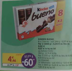 2 Paquets de 8x 2 barres de Kinder Bueno (Intermarché Contact)