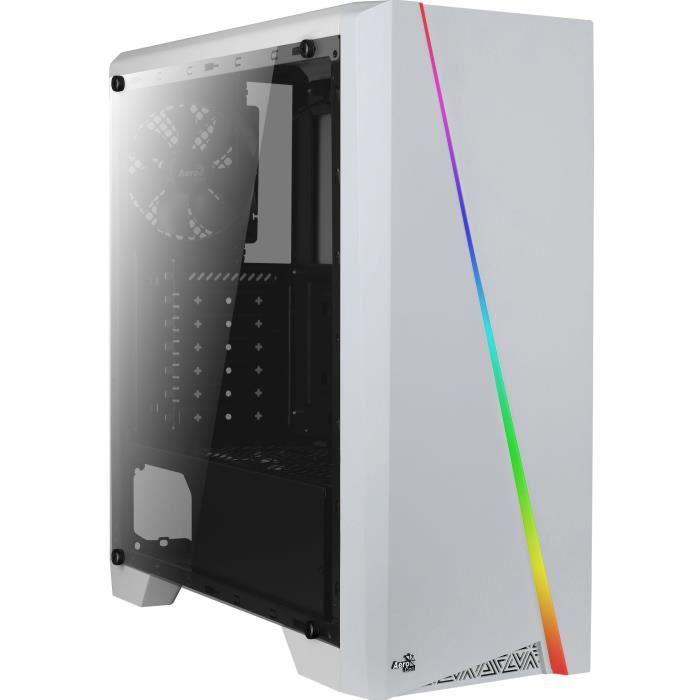 Boîtier PC moyen-tour Aerocool Cylon - Blanc, avec fenêtre, RGB, ATX