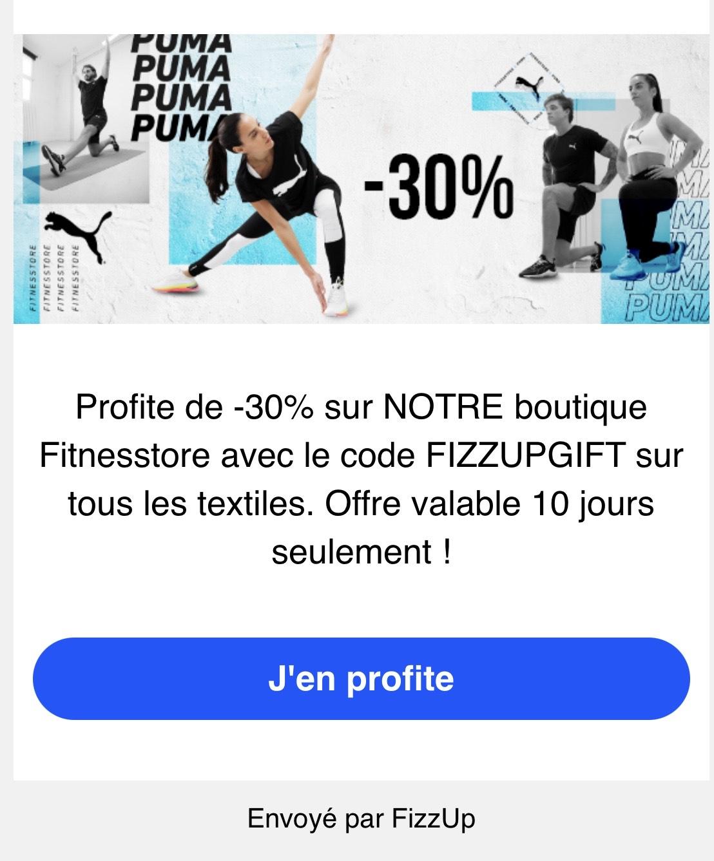 30% de réduction sur le textile (fitnesstore.fr)