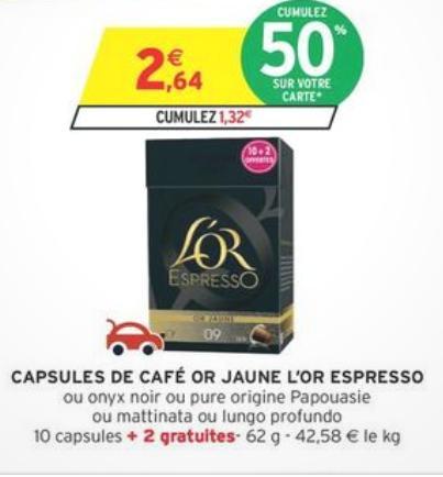 12 capsules Or jaune de l'Or Espresso gratuite (via carte de fidélité + BDR)