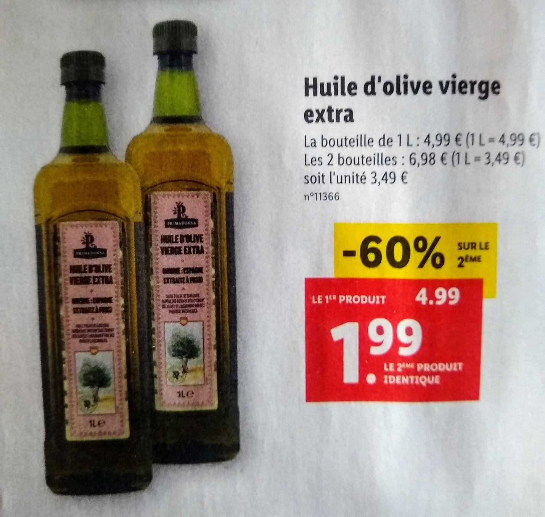 Lot de 2 Bouteilles d'Huile d'olive Vierge Extra (2x1L)