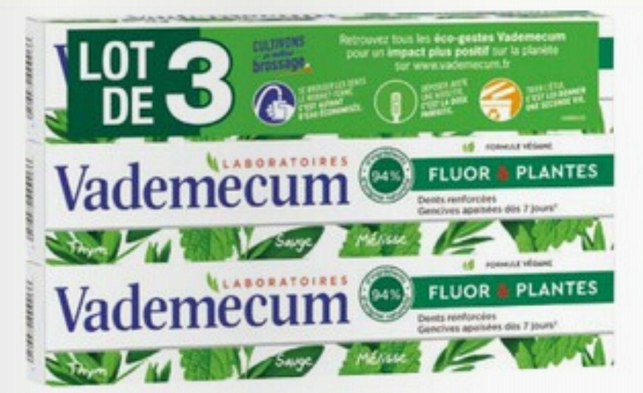 Lot de 3 dentifrices Vademecum - 3 x 75ml (via 2.94€ sur la Carte de Fidélité)