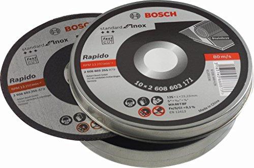 Lot de 10 Disques à tronçonner à moyeu plat standard inox Bosch WA 60 T BF - 125 mm, 22,23 mm, 1,0 mm