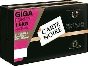 Lot de 6 paquets de 250g de café moulu Carte Noire 6x250g (via 3.45€ sur la carte de fidélité)