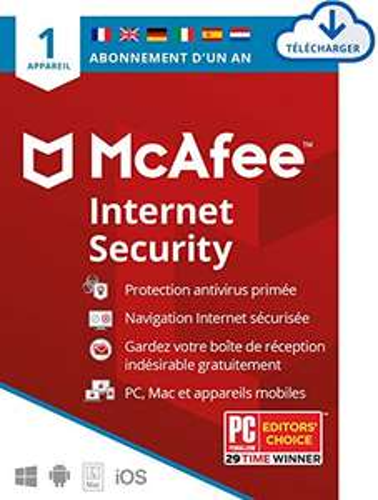Logiciel Antivirus McAfee Internet Security 2021 - 1 An, 1 appareil (Dématérialisé)