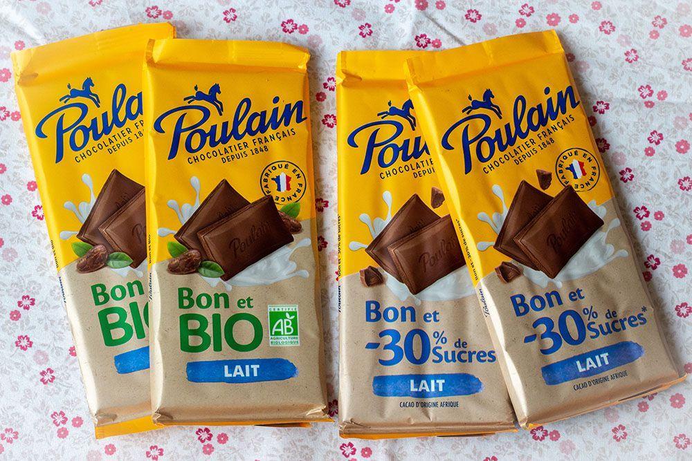 Tablettes de chocolat au lait Poulain 30% moins de sucres - 2 × 85g (via ODR)