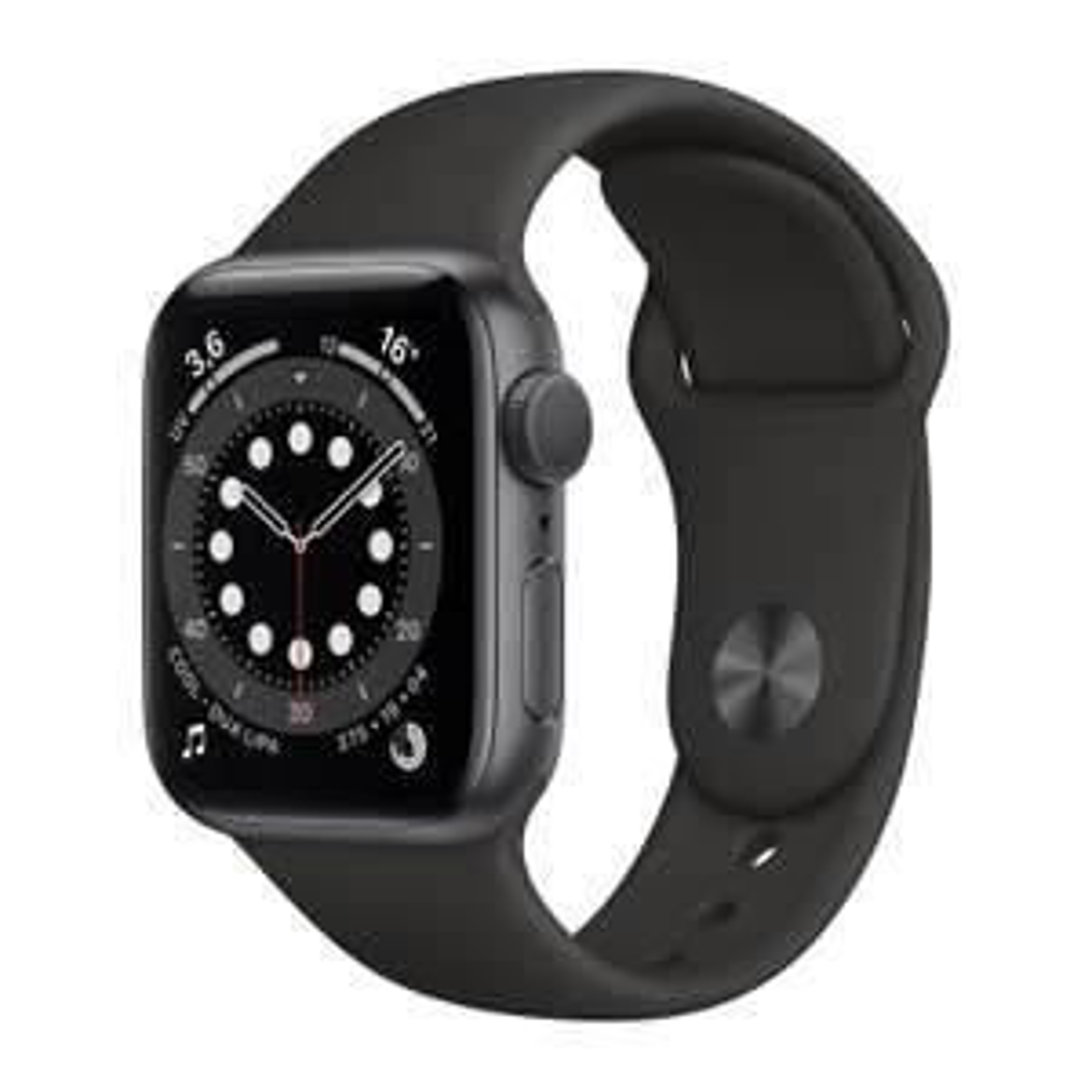 Montre connectée Apple Watch Series 6 (GPS) - Boitier 40 mm aluminium gris avec bracelet sport noir (+ 10.46€ en RP)