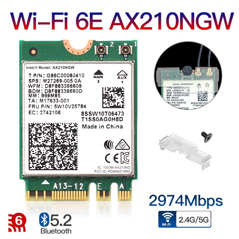 Carte Wi-Fi AX210NGW - Wi-Fi 6E, Bluetooth 5.2, format M.2 A/E