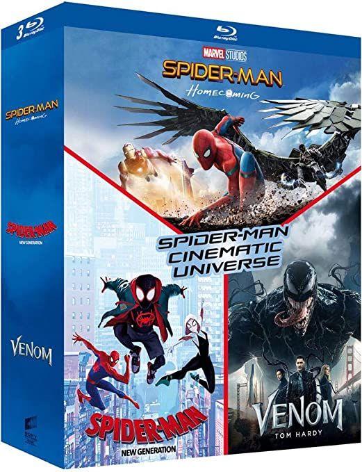 Coffret Blu-Ray Spider-Man Cinematic Universe - Spider-Man : Homecoming + Spider-Man : New Generation + Venom