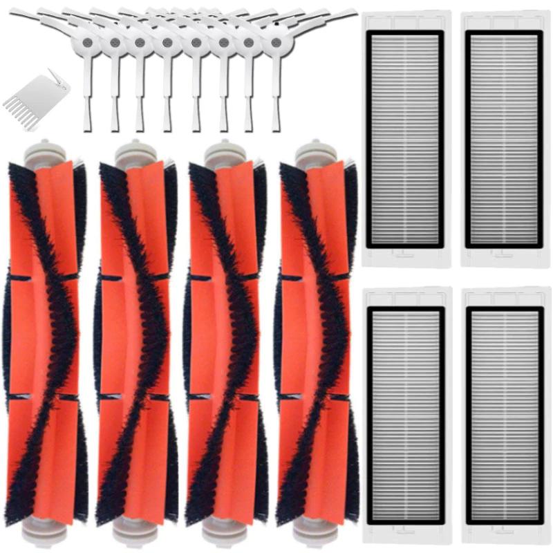 Lot de 17 pièces de rechange pour aspirateur robot Roborock (8 brosses latérales + 4 brosses centrales + 4 filtres HEPA + 1 peigne)