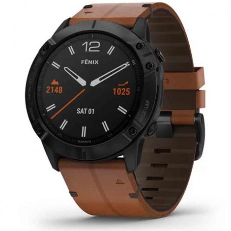Montre connectée Garmin fenix 6X Sapphire (bracelet marron) - Subtil-Diamant.com