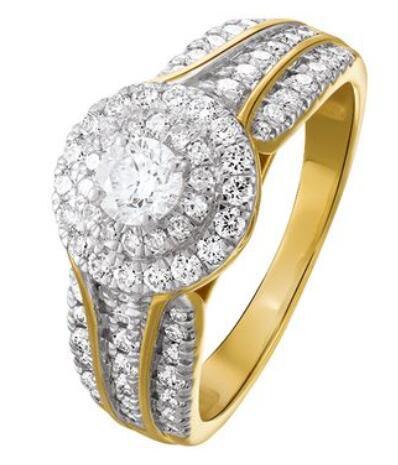 Bague en or rhodié 750 millièmes / 18 carats et diamants 1 carat (pierre centrale 0.3 carat)