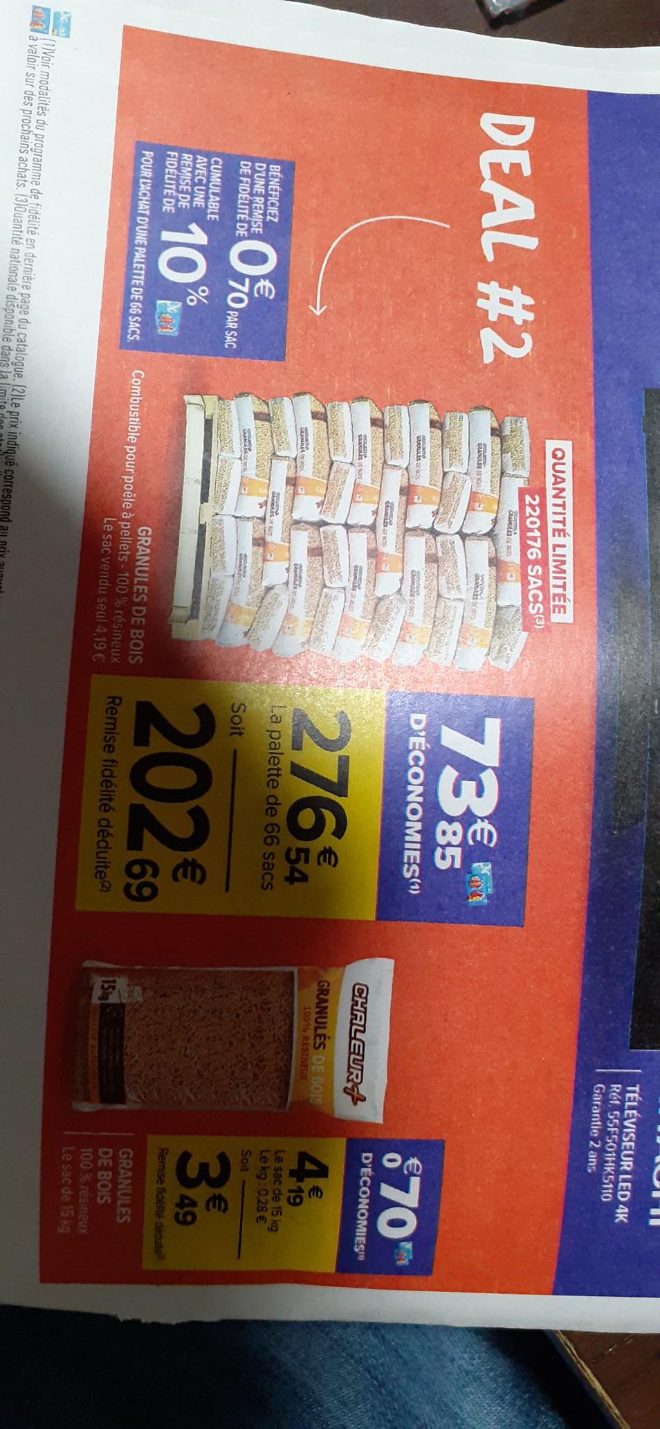 Palette de 66 sacs de granulés de bois 100% résineux (via 73.85€ sur la carte de fidélité)