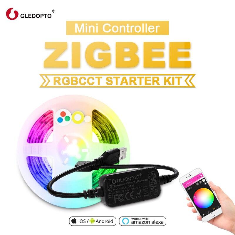 Ruban LED connecté Gledopto - RGBWW, 2 m, ZigBee, avec contrôleur et 3 connecteurs (entrepôt France)