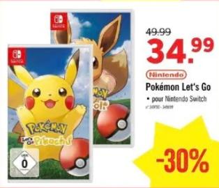 Pokémon Let's Go Evoli ou Pikachu sur Nintendo Switch (Frontaliers Belgique)