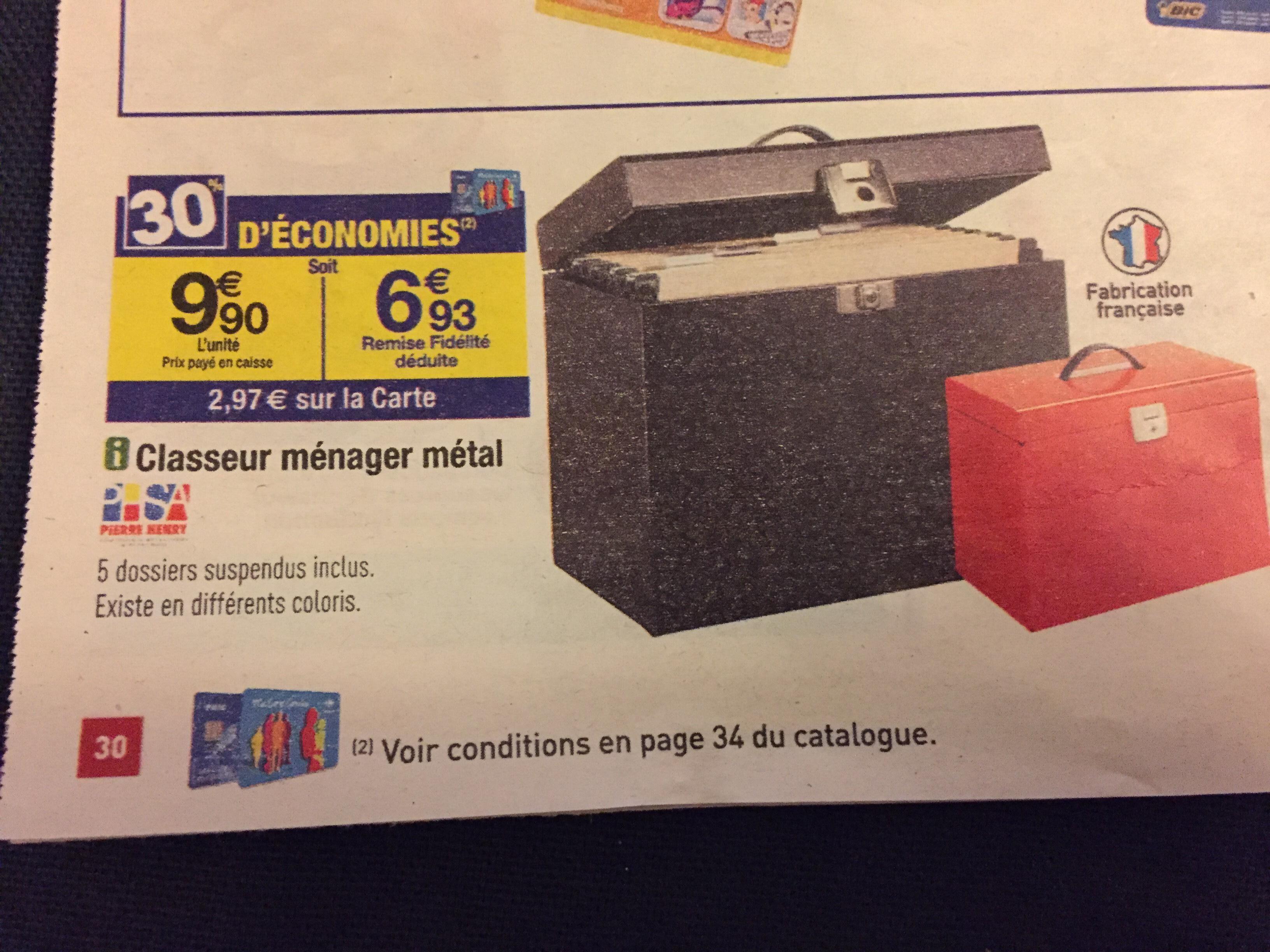 Classeur ménager en métal (avec 2.97€ sur la carte)