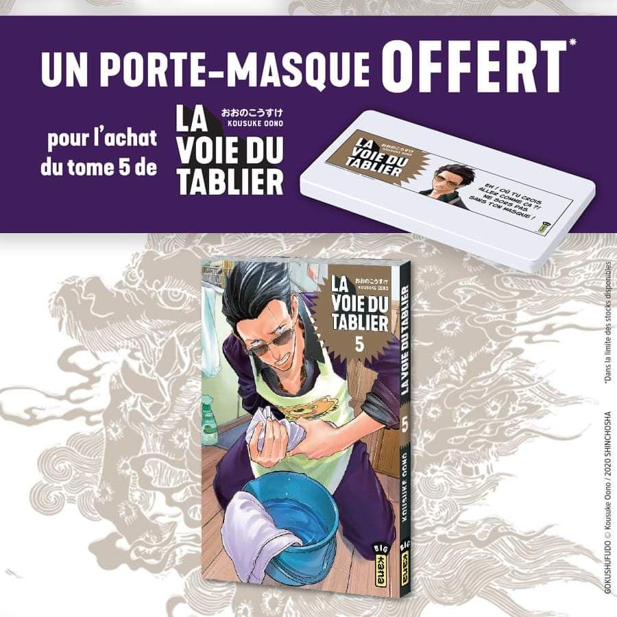 Un porte-masque offert pour l'achat du tome 5 de La Voie du Tablier dans les librairies participantes