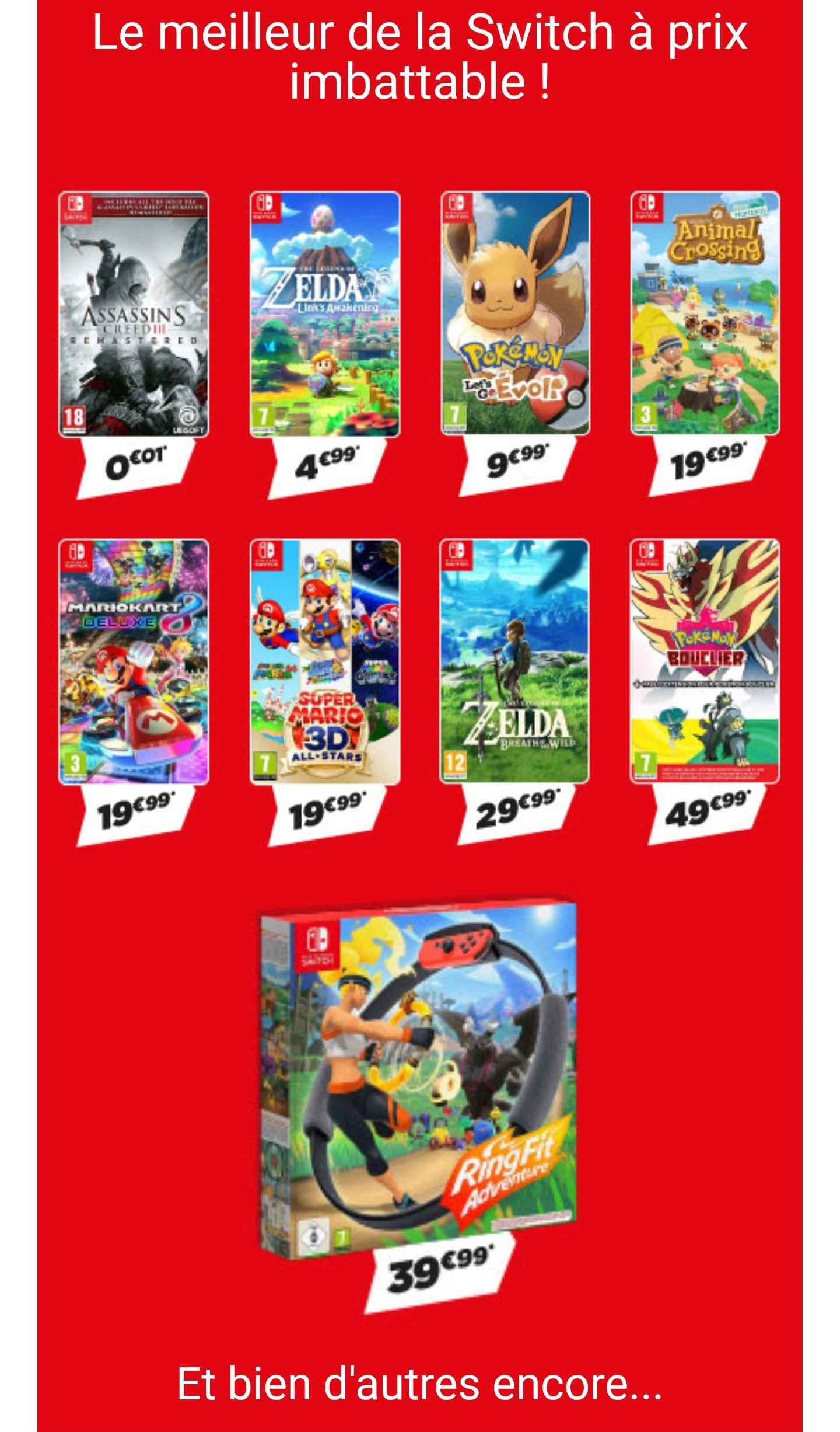 40€ de réduction sur l'achat d'un jeu Nintendo Switch (via reprise - parmi une sélection) - Ex : Zelda Links Awakening