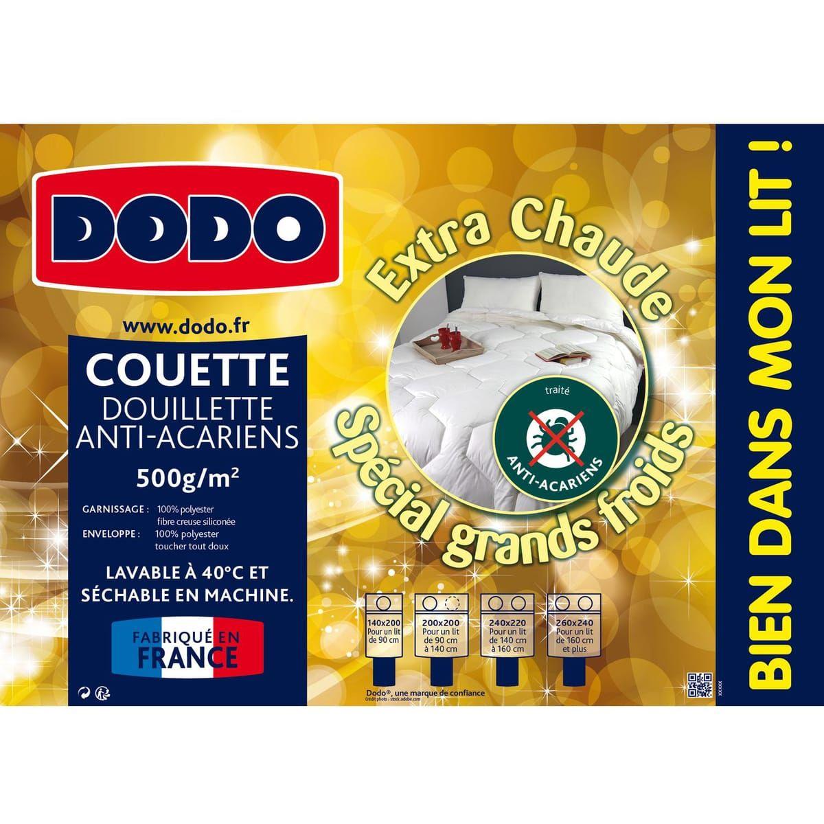 Couette chaude Dodo en microfibre anti-acariens - 240 x 220cm