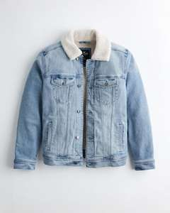 Sélection de vêtements en promotion - Ex : veste camionneur en jean doublé de sherpa Hollister