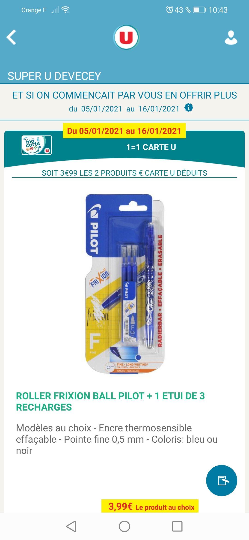 Lot de 2 crayons Pilot Frixion Ball + 2 étuis de 3 recharges (via 3.99€ sur la carte de fidélité)