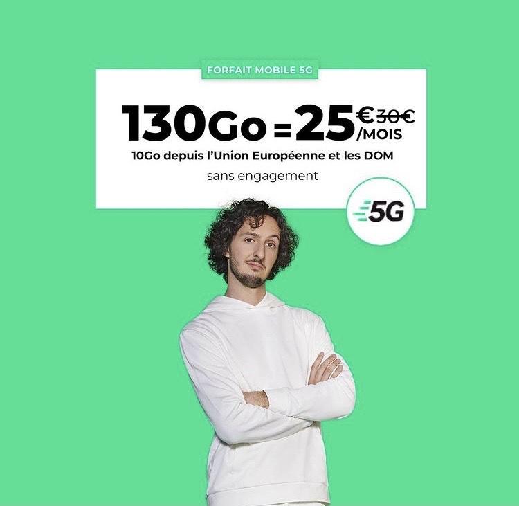 Forfait mensuel RED by SFR - appels/SMS/MMS illimité + 130 Go de DATA 5G, dont 15 Go depuis l'UE - sans engagement (sans condition de durée)