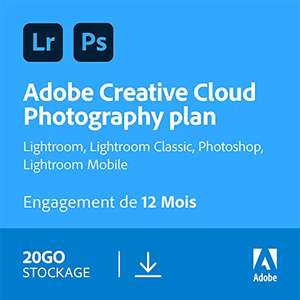 Abonnement Adobe Creative Cloud Photographie 20 Go : Photoshop + Lightroom pendant 1 an sur PC/Mac (Dématérialisé)