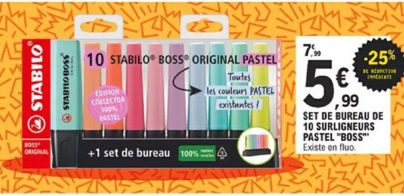 Set de bureau 10 surligneurs Stabilo boss