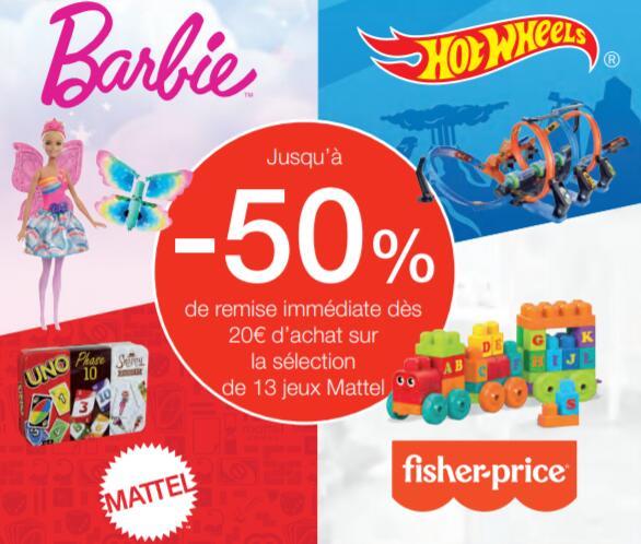 Jusqu'à 50% de remise sur une sélection de 13 jeux Mattel dès 20€ d'achat