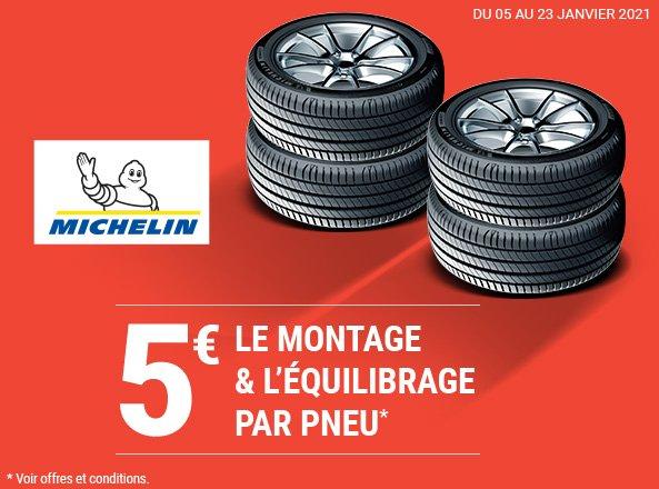 Montage & équilibrage sur les pneus Michelin à 5€ / pneu